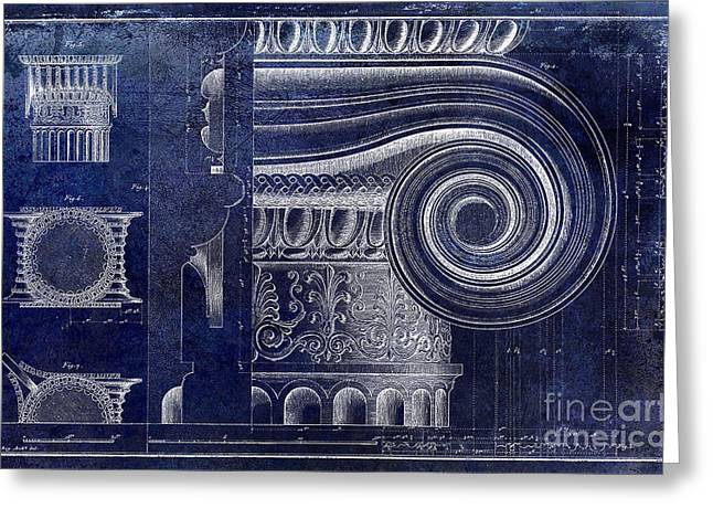 Roman Columns Greeting Cards - Architectural Capital Blue Greeting Card by Jon Neidert