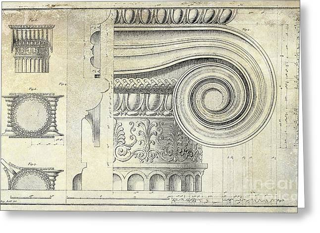 Roman Columns Greeting Cards - Architectural Capital Greeting Card by Jon Neidert