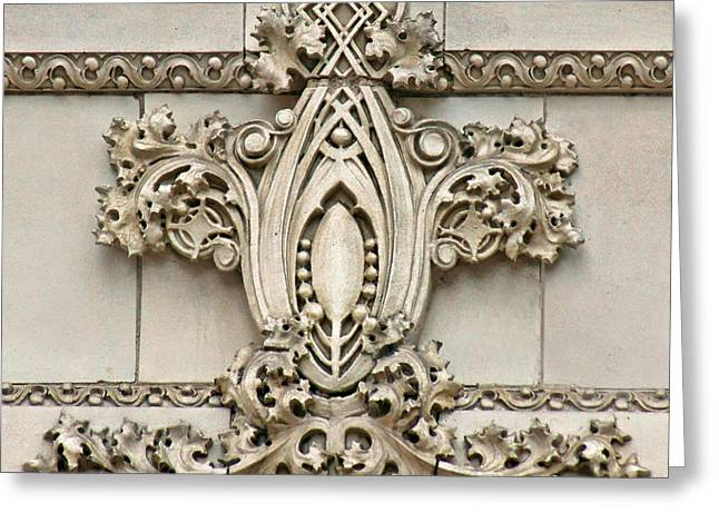 Esque Greeting Cards - Architectural Detail - Terra Cotta Medallion - Omaha Greeting Card by Nikolyn McDonald