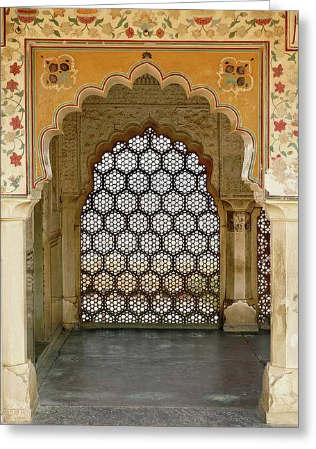 Architectural Details, Amber Fort Greeting Card by Adam Jones