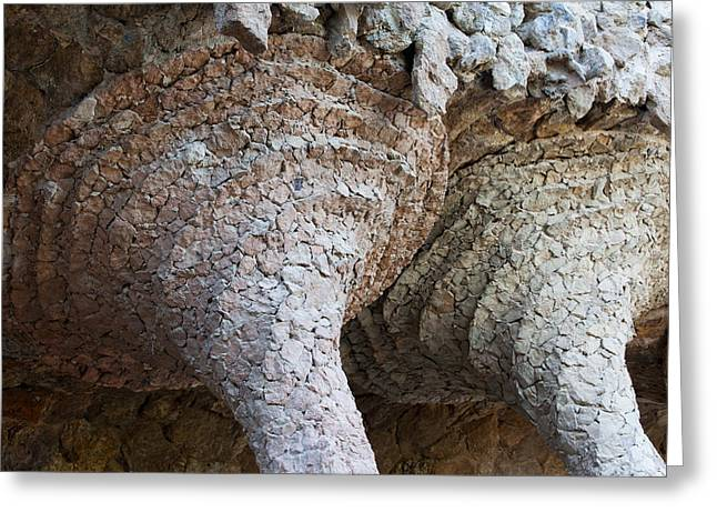 Unique Sights Greeting Cards - Architectural Details in Park Guell by Antoni Gaudi Greeting Card by Artur Bogacki