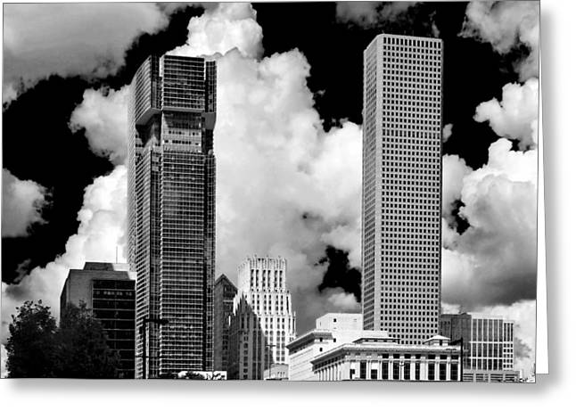 Main Street Greeting Cards - Architectural diversity Houston TX Greeting Card by Christine Till