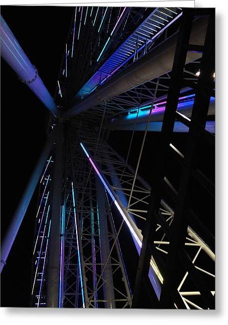 Pigeon In Park Greeting Cards - Upward View Architectural Ferris Wheel 1 Greeting Card by Richard Rosenshein