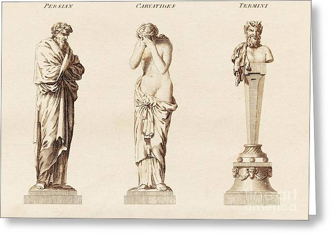 Greek Sculpture Greeting Cards - Architectural Hermas Illustration Greeting Card by David Parker