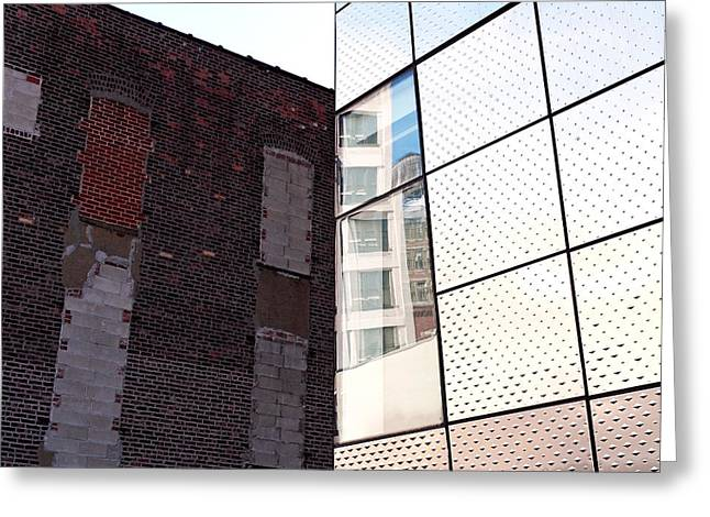 Nyc Architecture Greeting Cards - Architectural Juxtaposition on the High Line Greeting Card by Rona Black