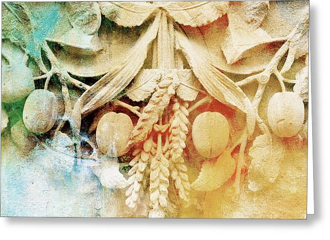 Grape Leaves Mixed Media Greeting Cards - Architectural Patina  in Blue and Beige Greeting Card by ArtyZen Home