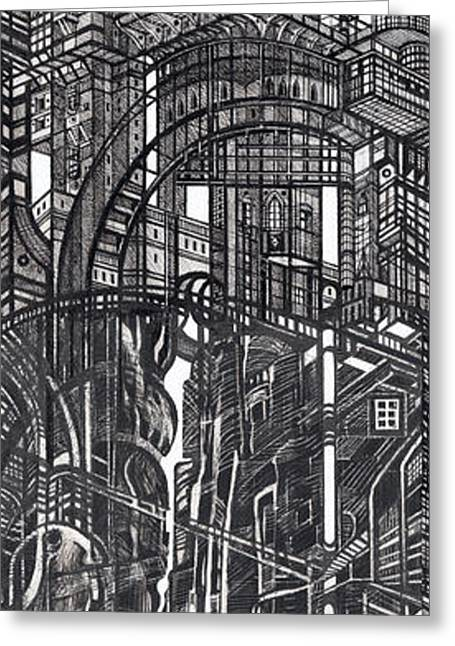 Abstractions Greeting Cards - Architectural Utopia 12 fragment Greeting Card by Serge Yudin