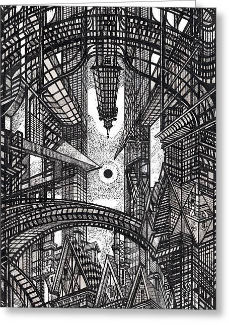 Abstractions Drawings Greeting Cards - Architectural Utopia 13 fragment Greeting Card by Serge Yudin