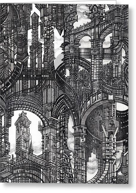 Abstractions Drawings Greeting Cards - Architectural Utopia 16 fragment Greeting Card by Serge Yudin