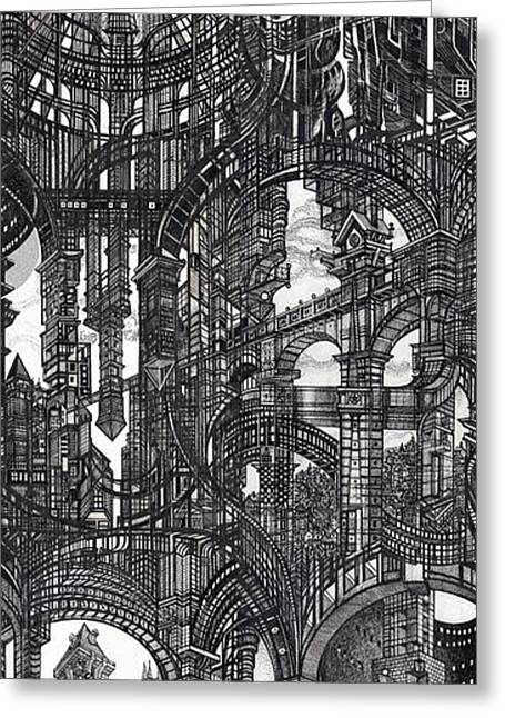 Abstractions Greeting Cards - Architectural Utopia 17 fragment Greeting Card by Serge Yudin