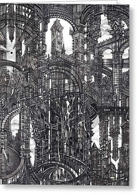 Urban Buildings Drawings Greeting Cards - Architectural Utopia 19 fragment Greeting Card by Serge Yudin