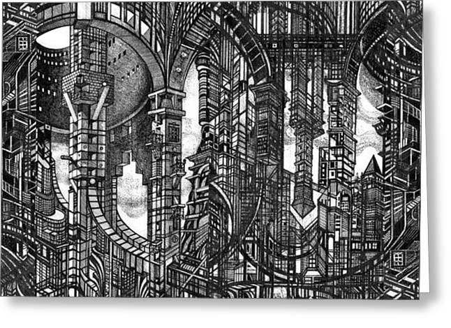 Urban Buildings Drawings Greeting Cards - Architectural Utopia 4 fragment Greeting Card by Serge Yudin