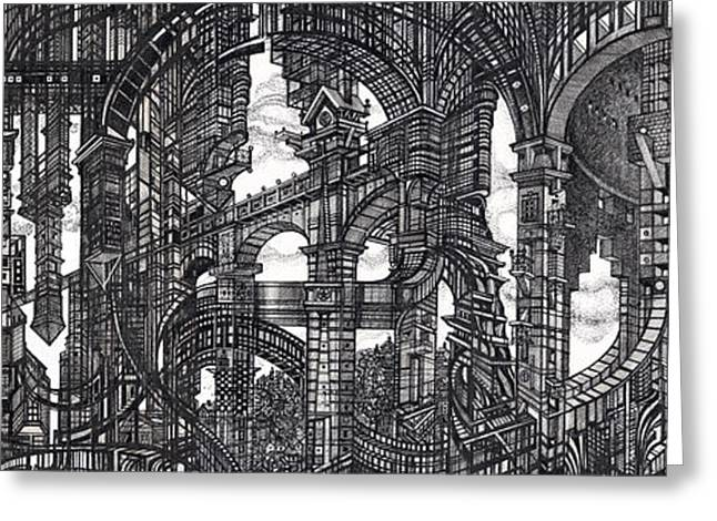 Abstractions Greeting Cards - Architectural Utopia 8 fragment Greeting Card by Serge Yudin