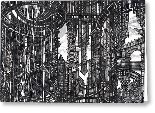 Abstractions Drawings Greeting Cards - Architectural Utopia 9 fragment Greeting Card by Serge Yudin