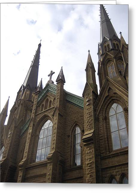 Religious Artist Photographs Greeting Cards - architecture churches Gothic Spires Greeting Card by Ann Powell