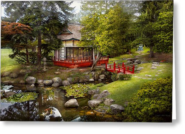 Shinto Greeting Cards - Architecture - Japan - Tranquil moments  Greeting Card by Mike Savad