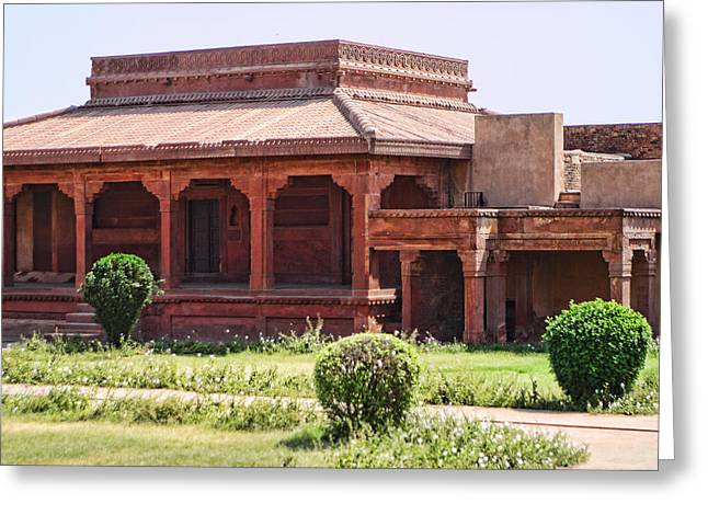Covered Porch Greeting Cards - Architecture with Covered Porch Fatepur Sikri Palace Greeting Card by Linda Phelps