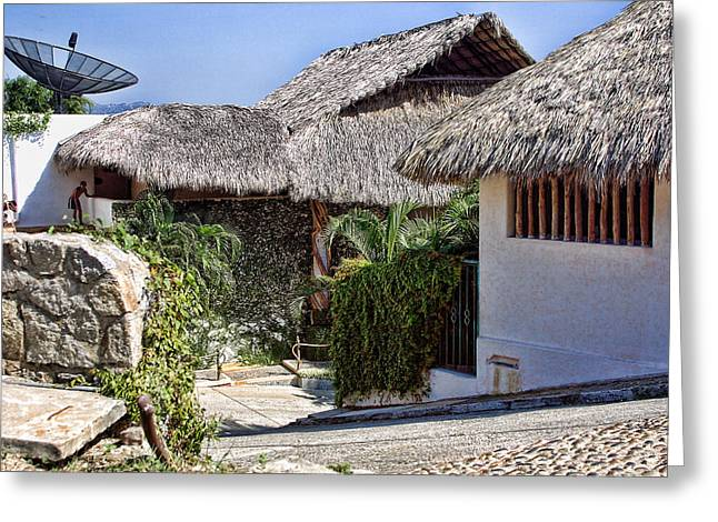 Acapulco Greeting Cards - Architecture with Thathed Roofs Greeting Card by Linda Phelps