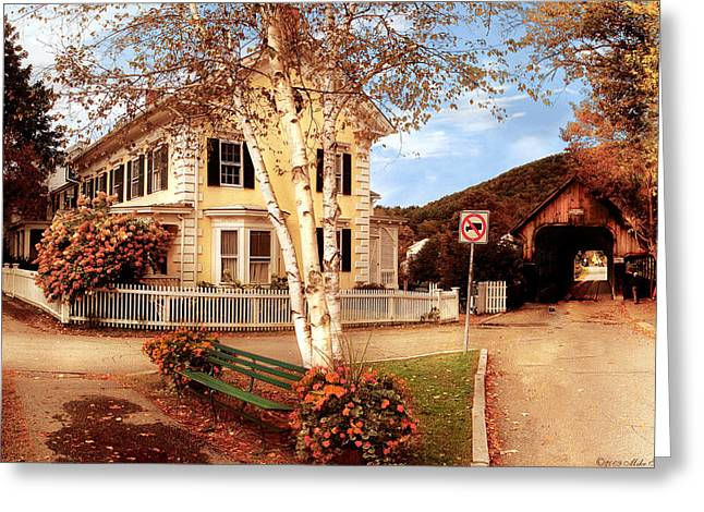 Architecture - Woodstock VT - Where I live Greeting Card by Mike Savad
