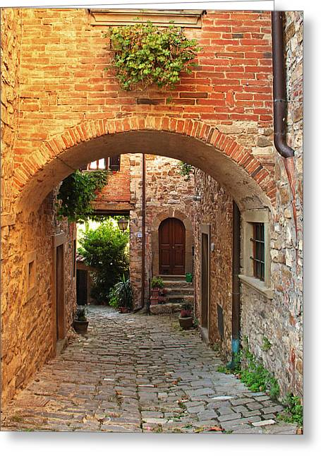 Chianti Greeting Cards - Archway and Lane in a Chianti Hilltown in Italy Greeting Card by Greg Matchick