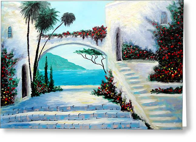 Archway  By The Sea Greeting Card by Larry Cirigliano