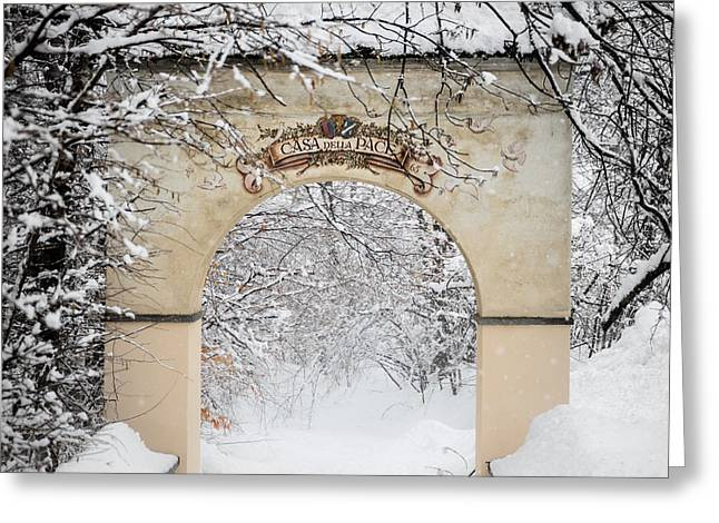 Snowy Roads Pyrography Greeting Cards - Archway Greeting Card by Maurizio Bacciarini
