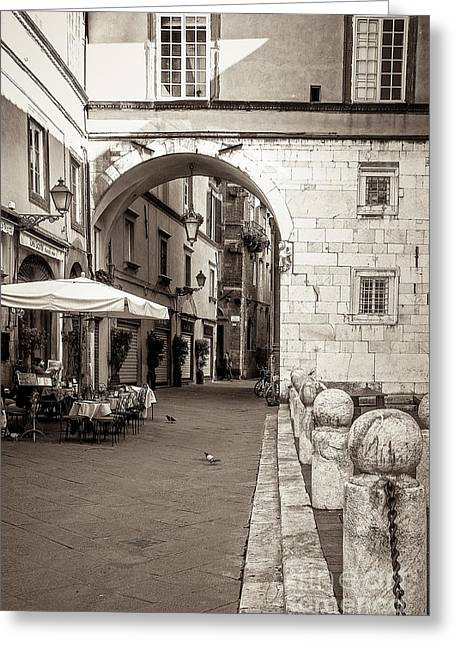 Sepia Chandeliers Greeting Cards - Archway over Street Greeting Card by Prints of Italy
