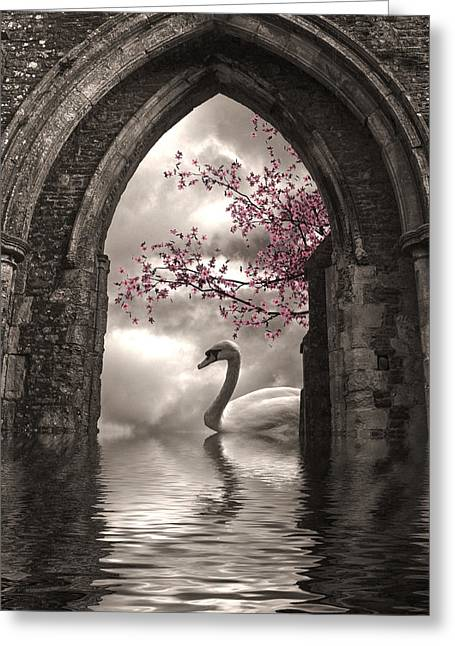 Swan Fantasy Art Greeting Cards - Archway to Heaven Greeting Card by Sharon Lisa Clarke