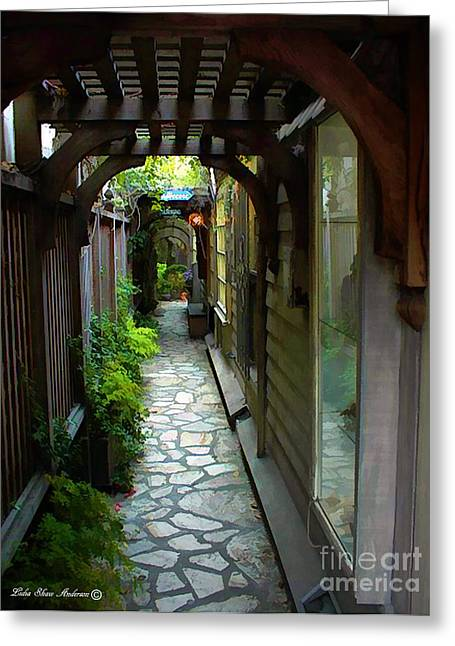 Kinkade Greeting Cards - Archway Walkway Greeting Card by Lidia Anderson