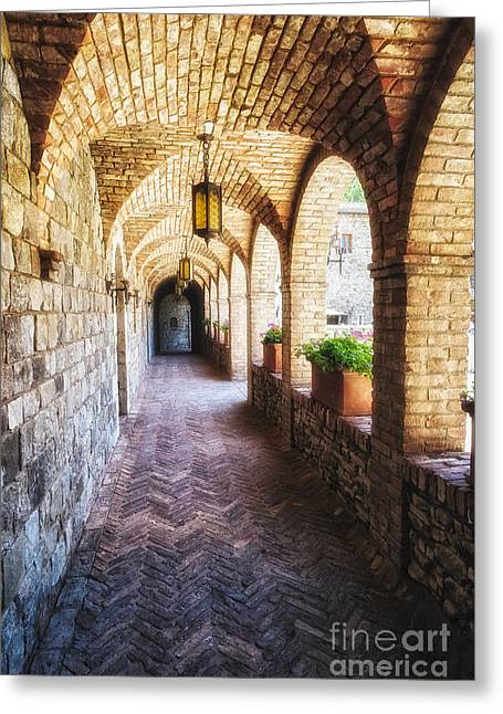 Calistoga Photographs Greeting Cards - Archways of a Tuscan Castle in Napa Valley Greeting Card by George Oze