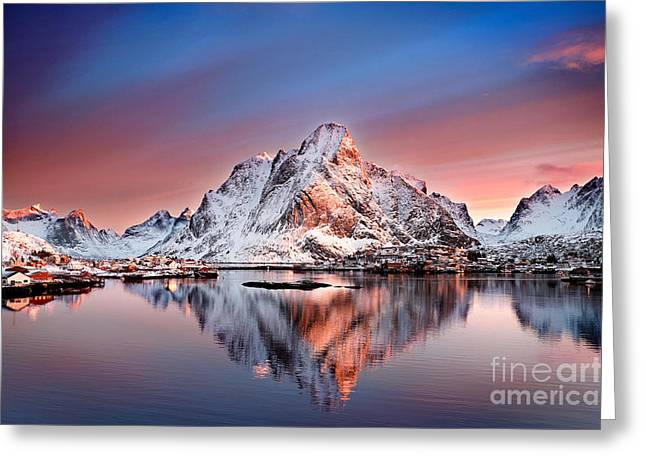 Winter Greeting Cards - Arctic Dawn Over Reine Village Greeting Card by Janet Burdon