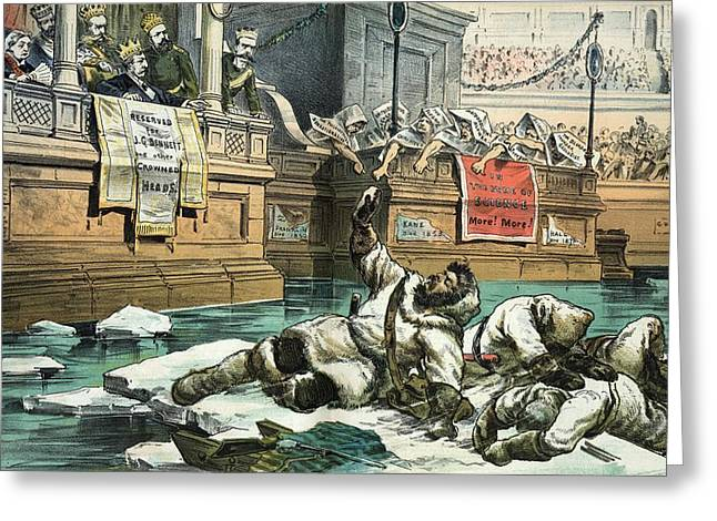 Human Sacrifice Artwork Greeting Cards - Arctic exploration debate, 1882 satire Greeting Card by Science Photo Library