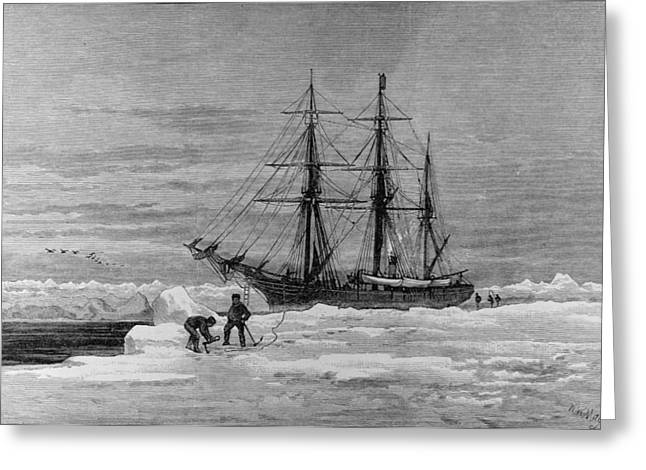 Recently Sold -  - Surveying Greeting Cards - Arctic Exploration The Eira, Mr Leigh Smiths Yacht, From The Illustrated London News, 7th January Greeting Card by English School