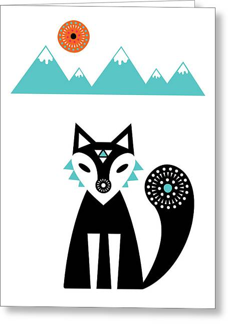 Geometric Animal Greeting Cards - Arctic Fox Greeting Card by Susan Claire