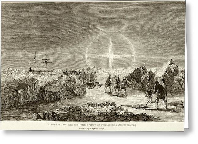 Arctic Funeral And Moon Dogs Greeting Card by British Library