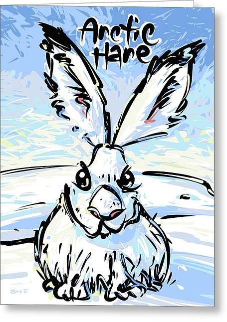 White Thick Fur Greeting Cards - Arctic Hare Greeting Card by Brett LaGue