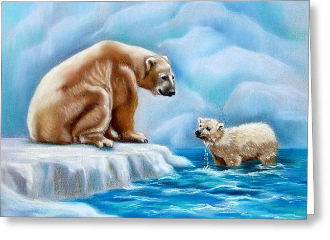Drip Pastels Greeting Cards - Arctic Heart Greeting Card by Nancy L Baker