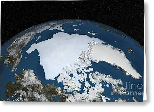 Arctic Circle Greeting Cards - Arctic Ice Minimum Extent, 2013 Greeting Card by Nasa