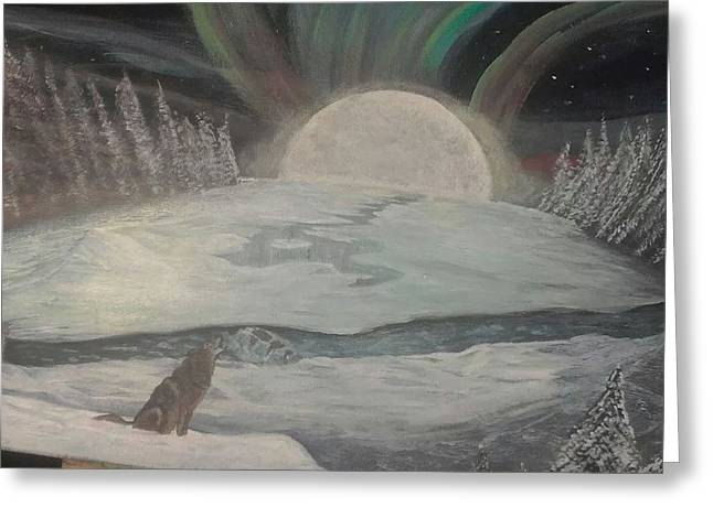 Wolf Creek Paintings Greeting Cards - Arctic Moon Greeting Card by Bonnie Davis