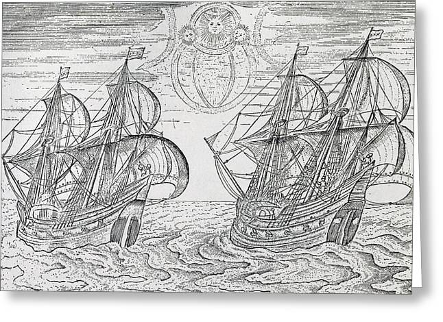 Two Sail Boats Greeting Cards - Arctic Phenomena from Gerrit de Veer s Description of his Voyages Amsterdam 1600 Greeting Card by Netherlandish School
