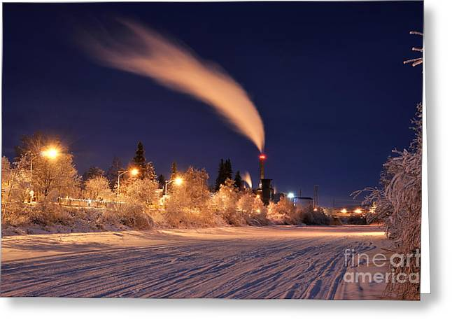 Power Plants Greeting Cards - Arctic Power at Night Greeting Card by Gary Whitton
