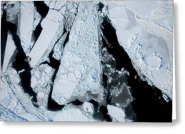 Arctic Sea Ice At Lowest Maximum Greeting Card by Nasa/operation Ice Bridge