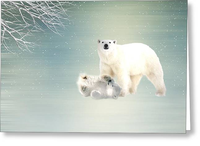 Digital Montage Greeting Cards - Arctic  Greeting Card by Sharon Lisa Clarke