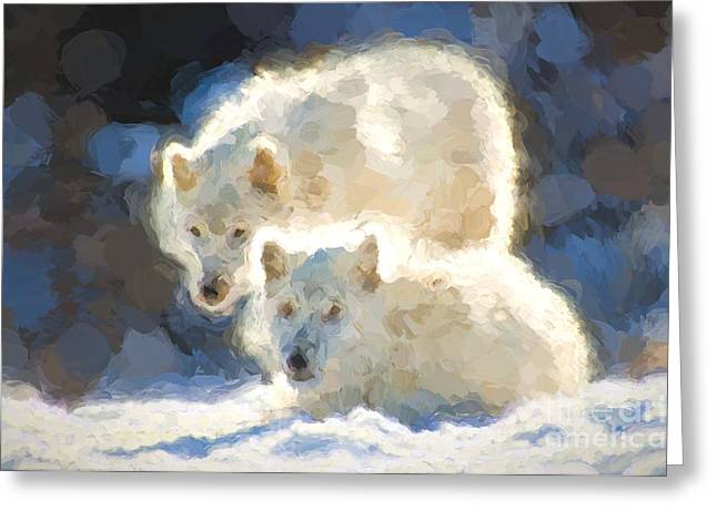 Hairy Wolf Greeting Cards - Arctic Wolves - Painterly Greeting Card by Les Palenik