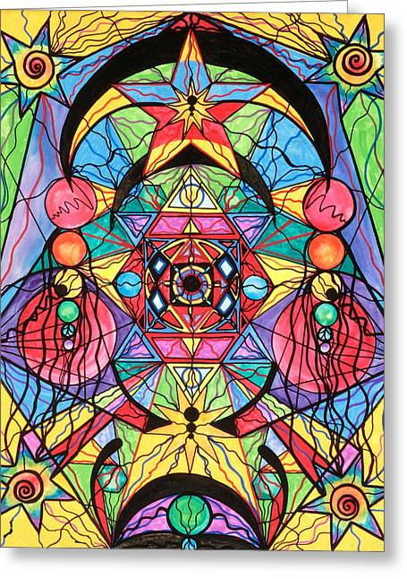 Printed Paintings Greeting Cards - Arcturian Ascension Grid Greeting Card by Teal Eye  Print Store