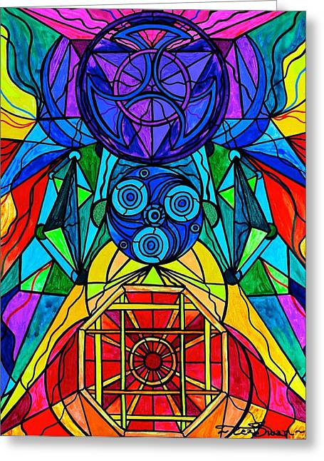 Geometric Art Greeting Cards - Arcturian Conjunction Grid Greeting Card by Teal Eye  Print Store