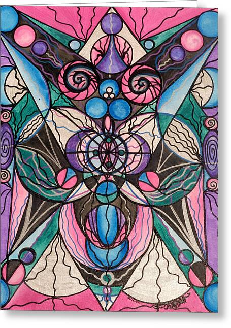 Printed Paintings Greeting Cards - Arcturian Healing Lattice  Greeting Card by Teal Eye  Print Store
