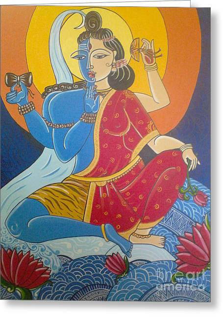 Ardhanarishwhara Greeting Card by Mangala Shenoy