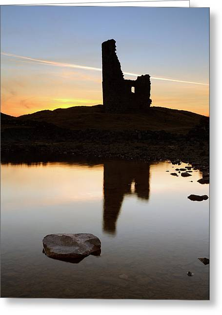 Silhoette Greeting Cards - Ardvreck Castle Sunset Greeting Card by Grant Glendinning
