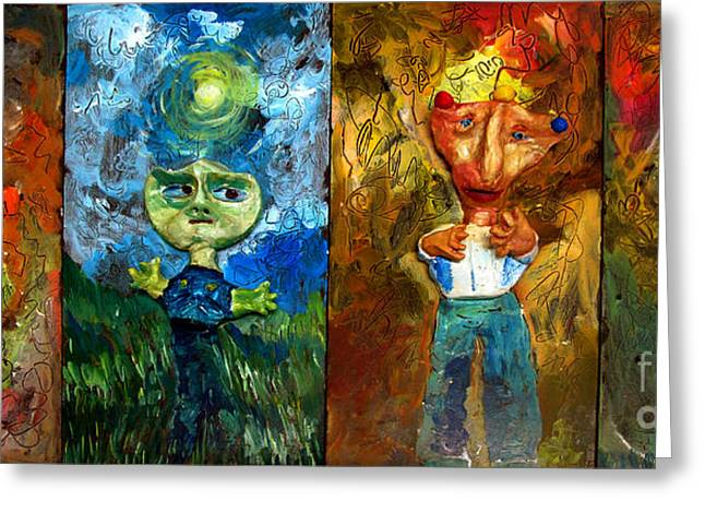 Painted Sculpture Greeting Cards - ARE WE ALONE a set Greeting Card by Charlie Spear